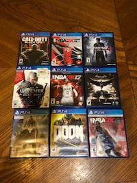 8 PlayStation 4 Games & 1 Game Spots  case