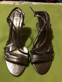 pair of black leather open-toe ankle strap heels Toronto, M2H 2W5