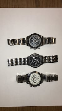 Three round silver chronograph watches Sterling Heights, 48314