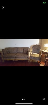 Sofa and Chair with throw pillows