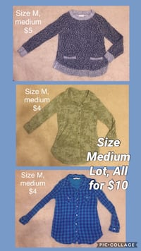 SIZE MEDIUM TOPS LOT 2 Blouses & 1 Sweater $10 for all Leander, 78641