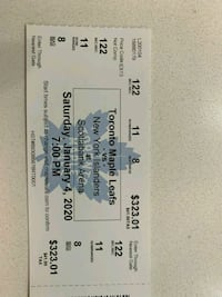 2 tickets to Maple Leafs vs. New York Islanders for Jan 4, 2020 game Mississauga, L5E 1L2