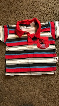 red, white, and black striped polo shirt Modesto, 95355