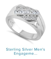 Sterling Silver Men's Engagement CZ ring size 12