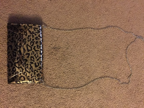 black and gold leopard print leather crossbody purse
