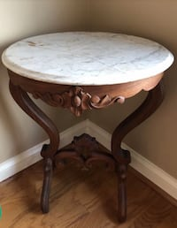 round brown wooden table with white wooden base Norfolk, 23518