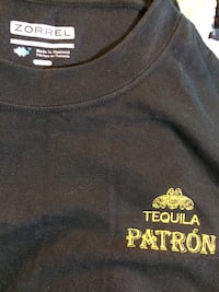 Black crew-neck shirt with Patron embroidery