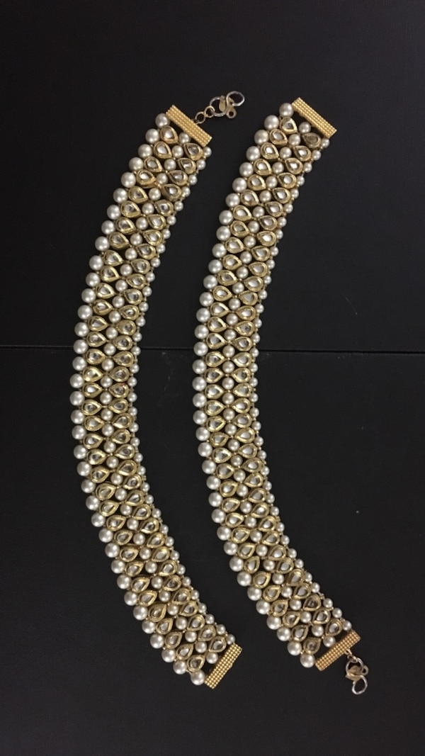 e0eb1eeff8f Gold colored, pearl anklets (Indian costume jewelry)