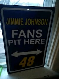 blue, yellow, and white Jimmie Johnson Fans Pit Here 48 signage Martinsburg, 25401