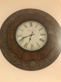 round brown wooden framed analog wall clock Pembroke Pines, 33029