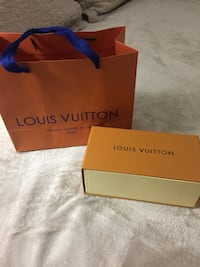 Brown louis vuitton box with paper bag