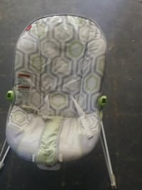 gray, white, and green Fisher-Price bouncer saet