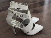 Qupid Women's white high heels shoes size 7, 3 inches Heel