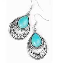 silver-colored and blue gemstone pendant earrings Germantown, 20874
