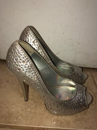 pair of gray leather platform stiletto shoes College Station, 77845