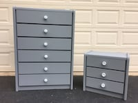 Broyhill Solid Wood 6 Drawer Tallboy Dresser With Nightstand Gray With White Handles  Manassas, 20112