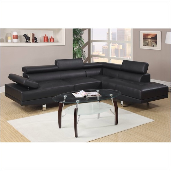 Black Modern Bonded Leather With Chrome Leg Sectional Wyckes
