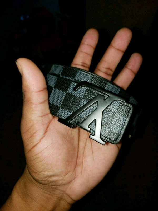 black and gray Louis Vuitton leather belt