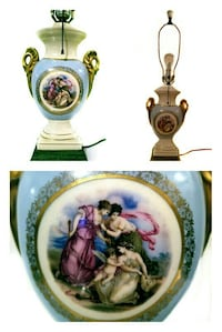PAINTED SIGNED ANGELICA KAUFFMAN PORCELAIN LAMP