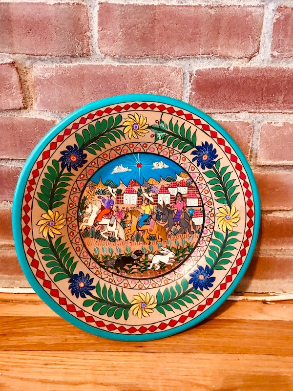 Vintage Mexican Decorative Terra Cotta Wall Plate