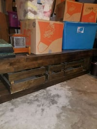 brown wooden TV stand with flat screen TV San Antonio, 78259