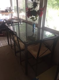 Rectangular Glass Top Table w/ 4 chairs dining set 45 km