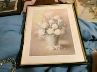 white calla lily flowers and white peony flowers in brown vase framed painting Lake Park, 31636