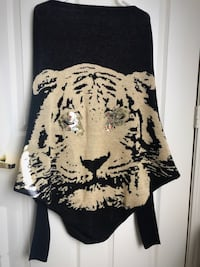 Expensive black and brown tiger cardigan thick knit gold accents cost me $65 and only wore it once!
