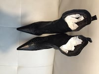 Black  leather peep toe heels.  Made in Italy Toronto, M2J 1L2