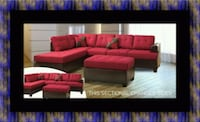 Red sectional with ottoman Adelphi