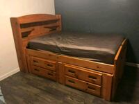 oak wood frame full size mattress and bed with storage underneath Mesquite