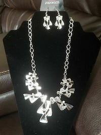 silver-colored chain link necklace with earrings set Rocky Mount, 27801