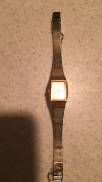 square gold-colored analog watch with link bracelet Stony Brook, 11790