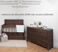 *new* TiAmo Castello 4-in-1 Convertible Wood Crib & 6-Drawer Double Nursery Dresser - Wire Brushed Brown Mississauga, ON L4T 3Y9, Canada