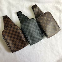 two brown Louis Vuitton leather bags