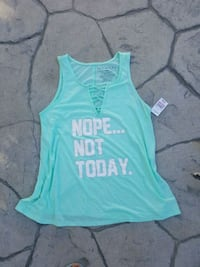 Nope Not Today Mint Blue Tank Top  Juniors' Large  San Diego, 92139