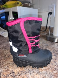 Pink and black toddler boots
