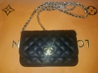 black leather quilted crossbody bag Davie