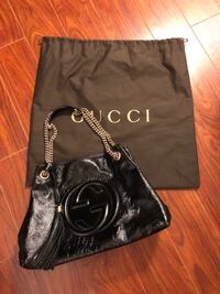 "GUCCI Black Leather Shoulder Bag (like brand new) Medium Size: 15""W x 10.6""H x 5.5""D Please contact if interested Markham"