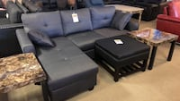 black leather sectional sofa with ottoman Phoenix, 85018