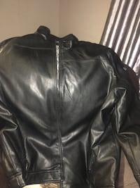 black leather zip-up jacket 552 km