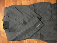 black and gray pinstripe suit jacket
