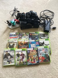 Xbox 360 console with controller, connect sensors, 12 games with cases including disney infinity Charlotte, 28211