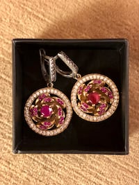 Ruby Topaz Silver & Bronze Round Drop Dangle Earrings Nashville, 37209