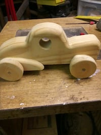 homemade wooden Roadster car 8 and 9 inches long