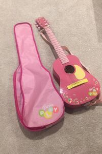 Kids Barbie guitar w/ case