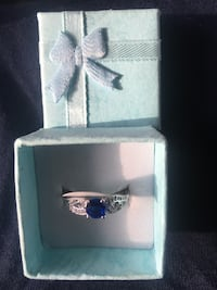 Silver 925 Stamped Blue Quartz Ring Size P New in Box Bishop Auckland, DL14