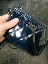 blue and gray leather wristlet Toronto