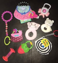 Baby girl rattle, teething & toy 9pc set. Includes orajel vibrating teether. Pu at Kipling and highway 7 Woodbridge Vaughan, L4L 1Z2