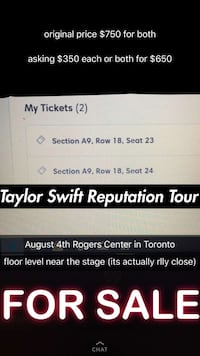 Taylor Swift Reputation Concert Tickets Thames Centre, N0M